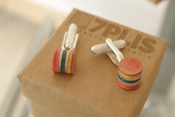 cuff links recycled skateboards handmade yellow pink orange turquoise wood