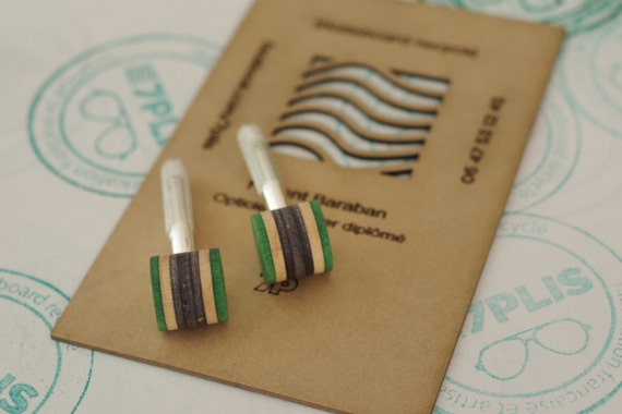 cuff links recycled skateboards handmade green grey wood
