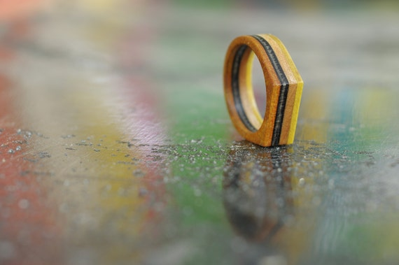 SKATEBOARD recycled ring orange yellow and black (wood)