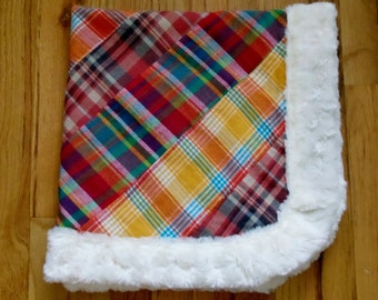 Baby Quilt - Madras Plaid Flannel - Blanket - Minky