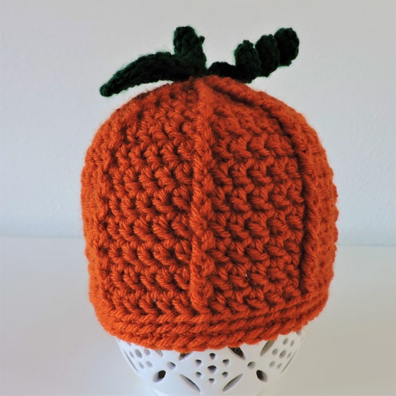 Free Ship Crochet Pumpkin Hat For Babies And Toddlers Etsy