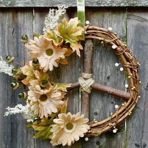 Peace Sign WreathHippie WreathBoho DecorBoho WeddingHippie Peace SignGrapevine WreathPeace SignTeen or Dorm Room D\u00e9corSummer Wreath