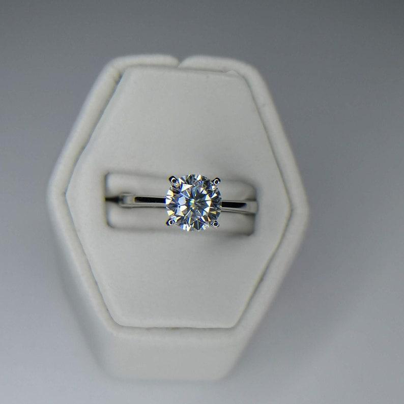 Platinum Four Claw Tulip Moissanite Solitaire Engagement Ring image 0