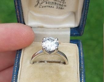 Platinum Four Claw Tulip Moissanite Solitaire Engagement Ring - Charles & Colvard Forever One/Classic/Pure  - Handmade Unique