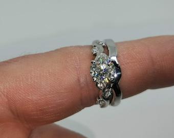 1. 9ct Gold Vine Bridal Set Charles & Colvard Moissanite 1.05ct total Round Brilliant Centre Wedding Band Engagement Ring