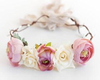 Pink Ivory Flower Crown, Dusty Pink Floral Crown, Dusty Rose Floral Crown, Rose Flower Crown, Pink Floral Crown