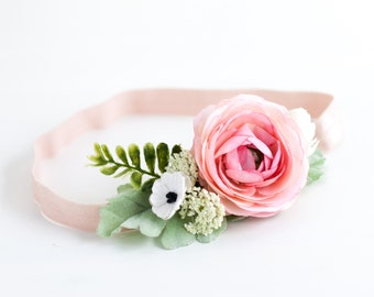 Pink Flower Headband Etsy