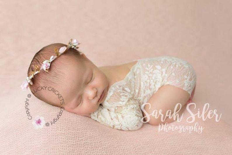 Pink Gold Headband, Gold Baby Headband Newborn Flower Crown Gold Pink Birthday Pink Rose Headband Baby Flower Crown Baby Flower Halo
