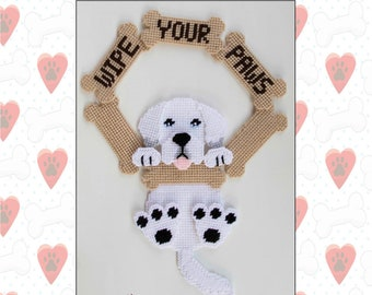 Great Pyrenees-Wipe Your Paws-Plastic Canvas Pattern-PDF Download