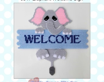 Elephant Welcome Sign-Plastic Canvas Pattern-PDF Download