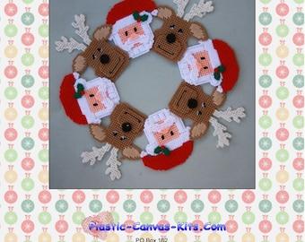 Christmas Santa and Reindeer Wreath-Plastic Canvas Pattern-PDF Download