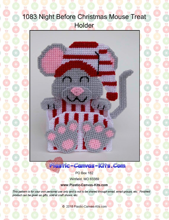 Winter Mouse Tissue Cover  ~  plastic canvas pattern