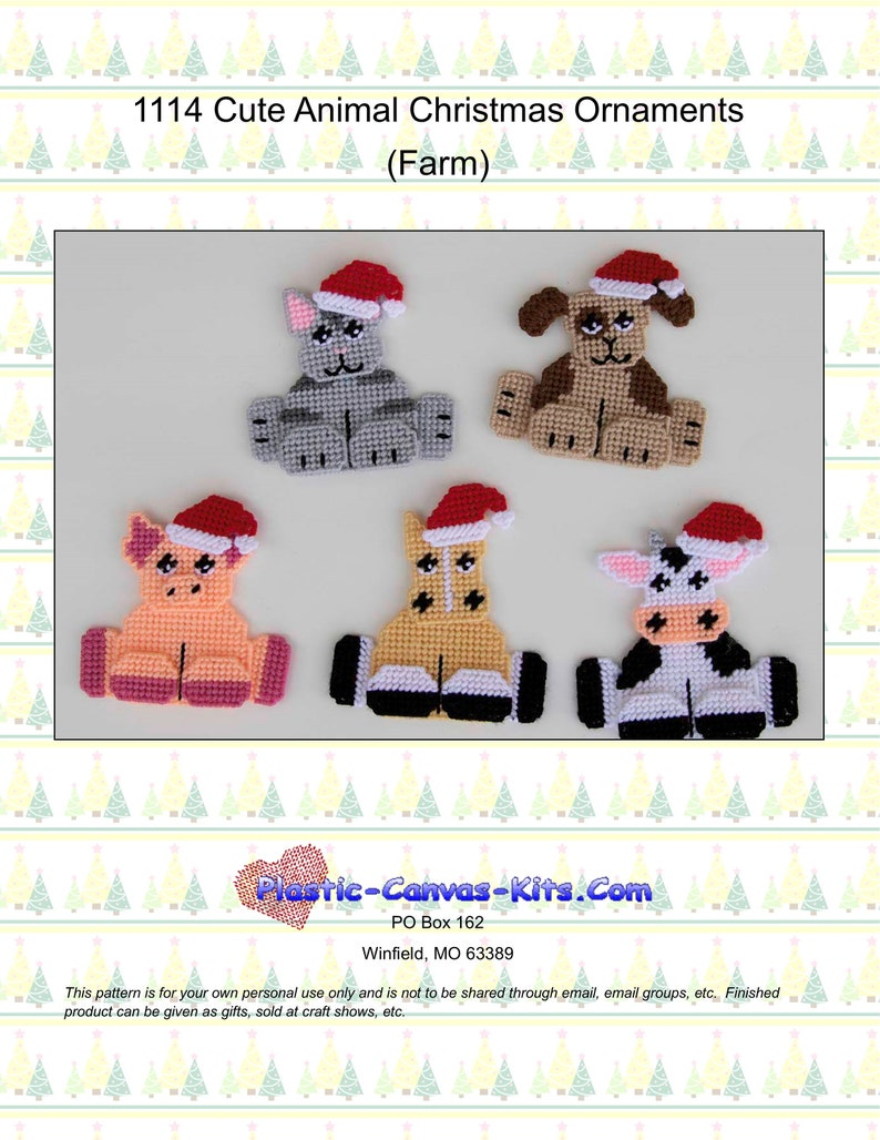 Cow,Pig-Plastic Canvas Pattern or Kit Christmas Animal Stocking Ornaments-Hippo