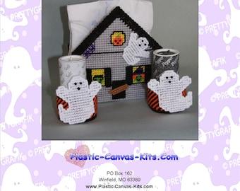 Haunted Halloween House Napkin Holder-Plastic Canvas Pattern-PDF Download