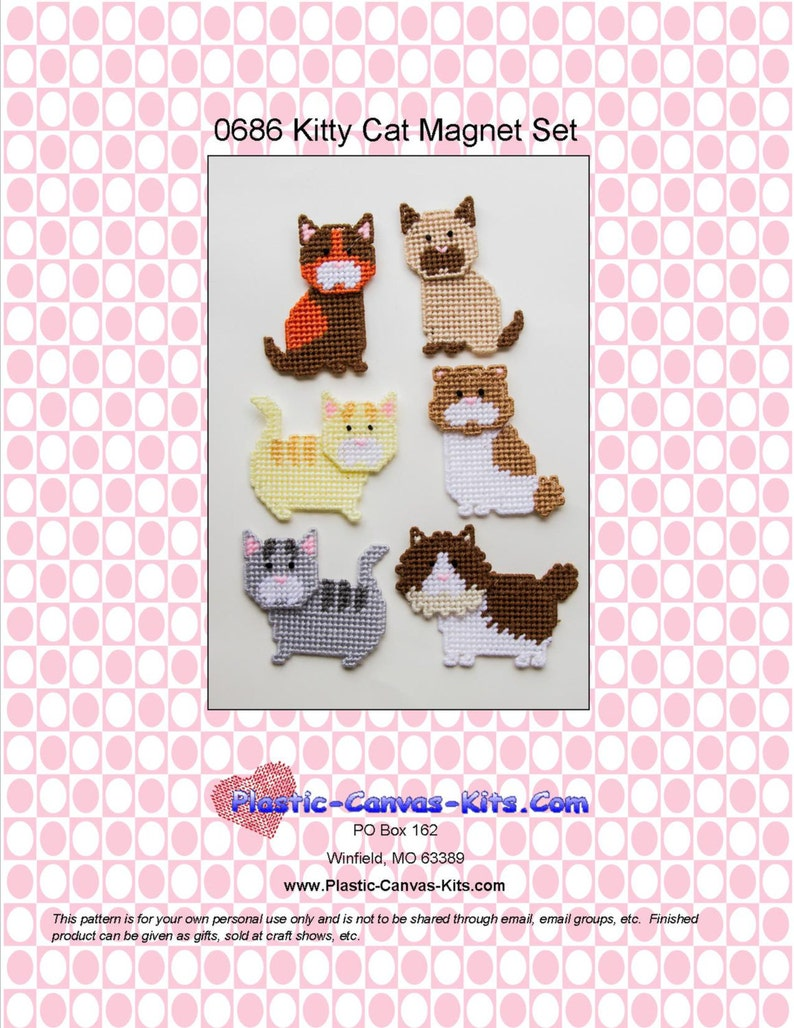 3f9ecfcf7 Kitty Cat Magnets-Plastic Canvas Pattern-PDF Download | Etsy