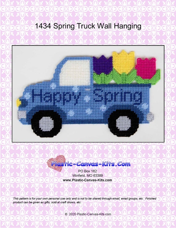 Happy Spring Truck Wall Hanging Plastic Canvas Pattern Pdf Etsy