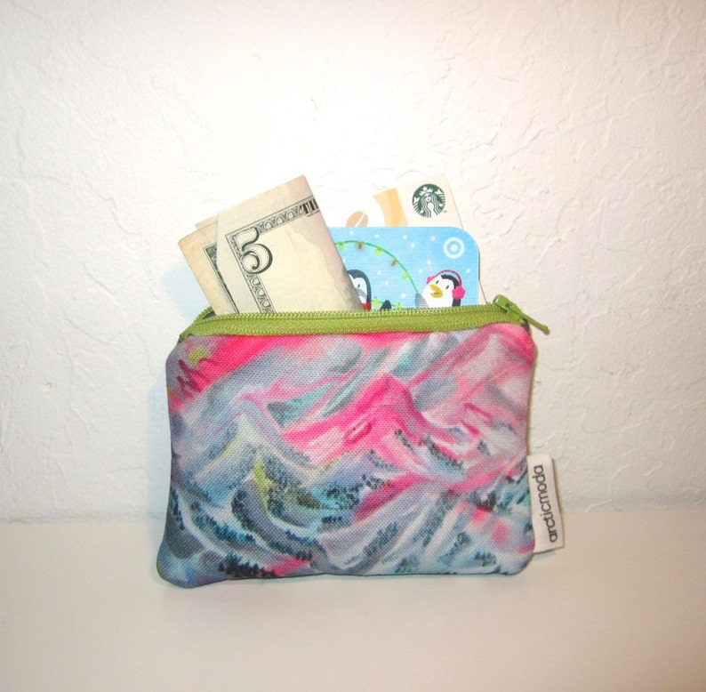 Mini Wallet  Coin purse Trail Map Graffiti Small Zipper Bag Printed Canvas and Leather