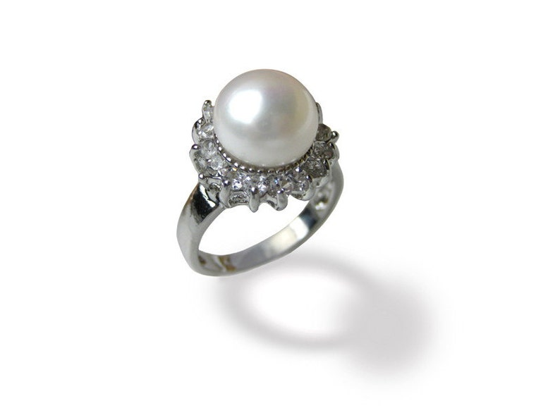 rg40 Various sizes 10mm AAA White Freshwater Pearl Ring