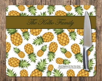 Pineapple Cutting Board, Personalized Pineapple Cutting Board, Personalized Glass Cutting Board, Custom Glass Cutting Board