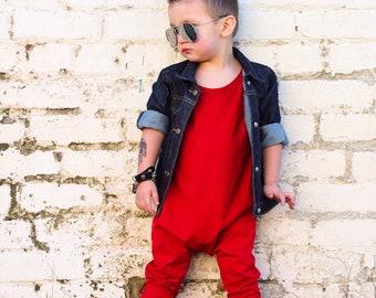 MiBaby Basics • Baby / Toddler T-shirt Romper • RED