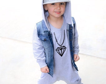 Grey Baby Romper / Toddler Romper - DIAMONDS ON MY CHAIN