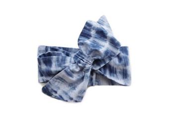 Baby Headwrap | Big Bow | Headband | Baby Turban | Tie Dye | Indigo | Cotton Head Wrap