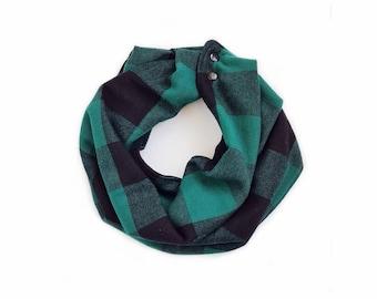 Buffalo Plaid Scarf / Green & Black Reversible Scarf / Bib Scarf / Scarf Bib / Toddler Scarf / Baby Scarf / MiBaby Boutique