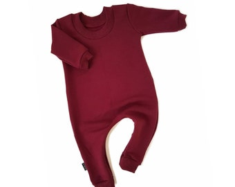 WINE Sweatshirt Baby Romper & Toddler Romper One Piece Zipper Jumpsuit Plain Solid Colour Hipster Romper Stretch Bamboo Fleece Jumper