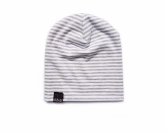 GREY & WHITE STRIPES Stretch Bamboo Knit Baby Toddler Kids Hipster Beanie