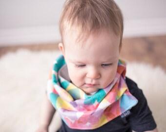 Rainbow Bib Scarf / Scarf-Bib / Hearts / Valentines Day / Toddler Scarf / Baby Girl Scarf Bib