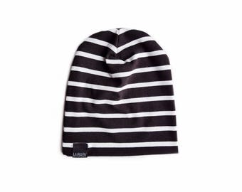 f8e56df9052 BLACK   WHITE Striped Beanie   Toddler Beanie   Baby Beanie   Kids Beanie   Slouchy  Beanie   Slouchy Toque   Soft Stretch Bamboo Baby Hat