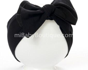 Baby Headwrap Baby Head Scarf Black Big Bow Top Knot Solid Colour Cotton Sash Head Wrap Self Tie Boho Baby Photo Prop MiBaby Boutique