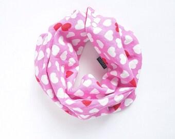 Baby Girl Bib Scarf / Scarf-Bib / Pink Hearts / Red / Toddler Scarf / Baby Scarf Bib