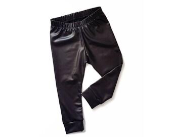 4965086b8 Black Faux Leather Baby Leggings | Toddler Leggings | Vegan Leather Pants | Baby  Boy Leggings | Baby Girl Leggings | Baby Leather Pants