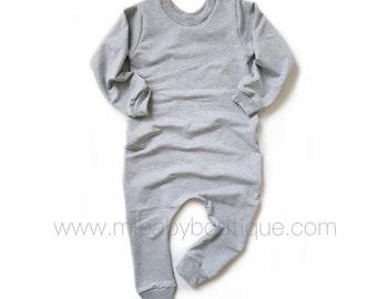 Bamboo Sweatshirt Baby & Toddler Romper - BLACK / CHARCOAL / GREY / PLUM / DENIM BLUE / PINK / OLIVE GREEN