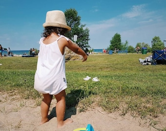WHITE One Piece Bodysuit Boho Baby Romper Toddler Romper Baby Girl Summer Birthday Outfit Stretch Bamboo Short Playsuit MiBaby Boutique