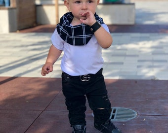 Baby Boy Scarf Navy Plaid White Striped Checkered Scarf Bib Toddler Scarf Infant Neck Warmer Infinity Cowl Neck Scarf MiBaby Boutique