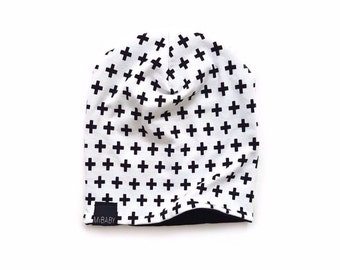 Reversible Slouchy Beanie / Black White Cross / Toddler Beanie / Baby Beanie / Kids Beanie / Hipster Beanie / Babies & Kids Slouchy Toque