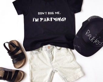 MiBaby Cotton T-shirt - Black - DONT BUG ME I'M PARTYING