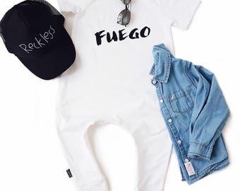 White Baby Romper / Toddler Romper - FUEGO