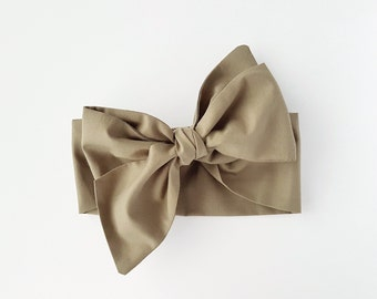 Big Bow Baby Headwrap / Olive /Army Green / Baby Head Scarf / Top Knot Head Wrap / Cotton Head Wraps