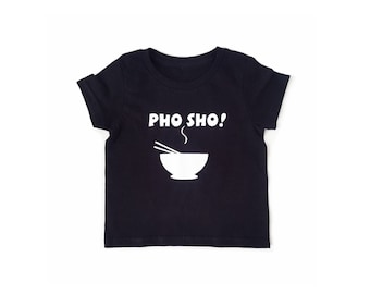 PHO SHO Black Cotton T-shirt Custom Vinyl Print Toddler Kids Tees by MiBaby Boutique
