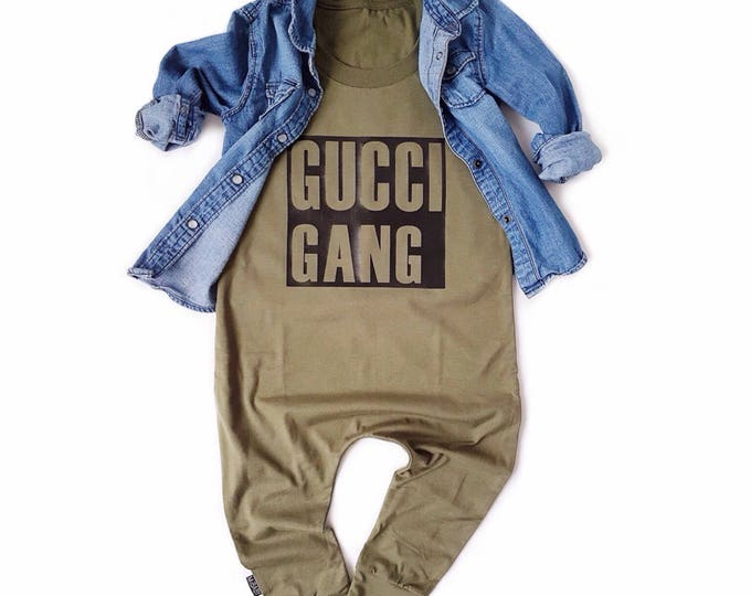 Featured listing image: Olive Baby Romper Toddler Romper -  GUCCI GANG