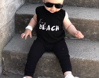 Black Baby Romper Toddler Romper - LIFE's A BEACH