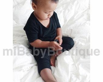 MiBaby Basics • Baby / Toddler T-shirt Romper • BLACK