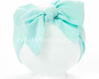 Stylish Big Bow Baby Headwrap // Baby Head Scarf // Mint // Pastel Jade // Top Knot // Cotton Head Wrap // Photo Prop