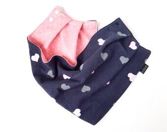 Baby Girl Bib Scarf / Scarf-Bib / Pink Baby Scarf / Hearts / Toddler Scarf / Baby Scarf Bib