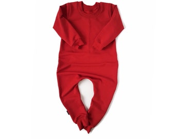 RED Baby Romper & Toddler Romper One Piece Sweatshirt Jumpsuit Solid Colour Hipster Romper Stretch Bamboo Fleece Jumper with Zipper Option