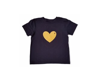 GOLD HEART Black Cotton T-shirt Custom Vinyl Print Toddler Kids Tees by MiBaby Boutique
