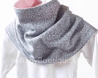 Reversible Baby Scarf /  Toddler Scarf / Bib Scarf /  Grey / Pink / Fleece Knit / Scarf-bib / MiBaby Boutique